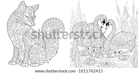 Coloring Page Adult Book Set Wild Fox Animal Swan Birds Couple For