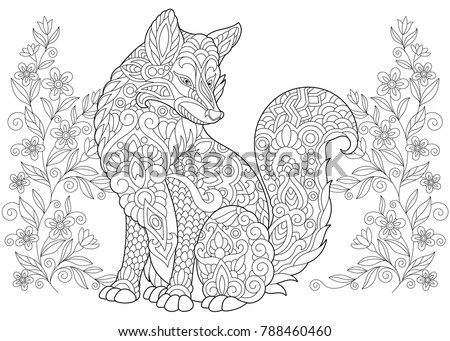 Coloring Page Adult Book Wild Fox And Summer Or Spring Flowers Antistress