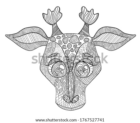 coloring page adult giraffe