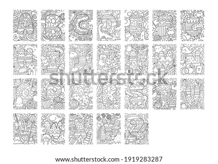Coloring page Alphabet for kids with cute characters in doodle style. ABC coloring page for education Stock photo ©