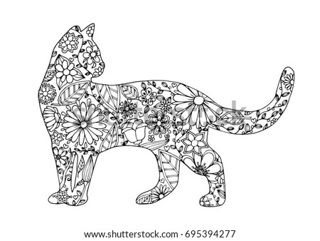 coloring page   cat for adults