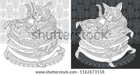 Coloring Page Book Colouring Picture With Cat Drawn In Zentangle Style Antistress