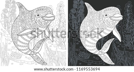 Coloring Page. Coloring Book. Colouring picture with Dolphin drawn in zentangle style. Antistress freehand sketch drawing. Vector illustration.