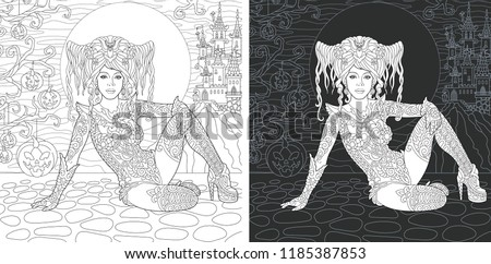 Stock Photo Coloring Page. Coloring Book. Colouring picture with Halloween witch drawn in zentangle style. Antistress freehand sketch drawing. Vector illustration.