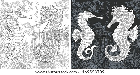 Coloring Page. Coloring Book. Colouring picture with Sea horses drawn in zentangle style. Antistress freehand sketch drawing. Vector illustration.