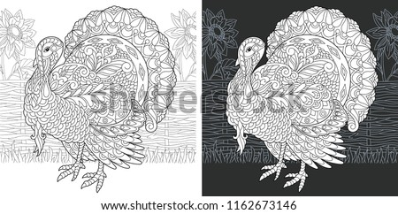 Coloring Page. Coloring Book. Colouring picture with Turkey drawn in zentangle style. Thanksgiving day holiday bird symbol. Vector illustration.