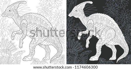 Coloring Page. Coloring Book. Dinosaur collection. Colouring picture with Hadrosaur drawn in zentangle style. Antistress freehand sketch drawing. Vector illustration.