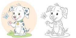 Coloring page. Colouring picture with dalmatian dog. Cartoon animal clipart set for nursery poster, t shirt print, kids apparel, greeting card, wallpaper or banner.