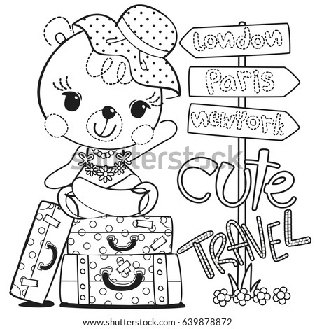 Coloring page, Cute cartoon teddy bear girl sitting on suitcase with road sign isolated on white background illustration vector.