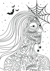Coloring page for adults,Portrait of a young girl in Halloween or Day of the Death