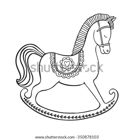 coloring page hand drawn vector rocking horse design for kid coloring book - Baby Rocking Horse Coloring Pages