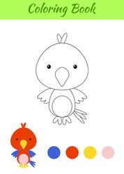 Coloring page happy little baby parrot. Printable coloring book for kids. Educational activity for kindergarten and preschool with cute animal. Flat cartoon colorful vector illustration.
