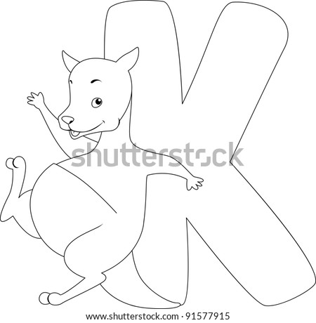 Coloring Page Illustration Featuring a Kangaroo