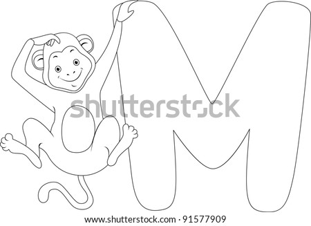 Coloring Page Illustration Featuring a Monkey - stock vector