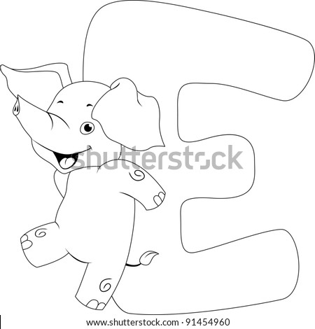 Coloring Page Illustration Featuring an Elephant