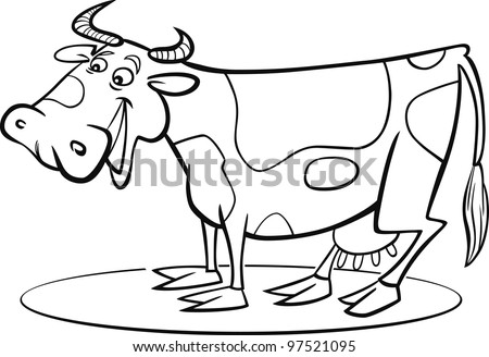 coloring page illustration of funny farm cow