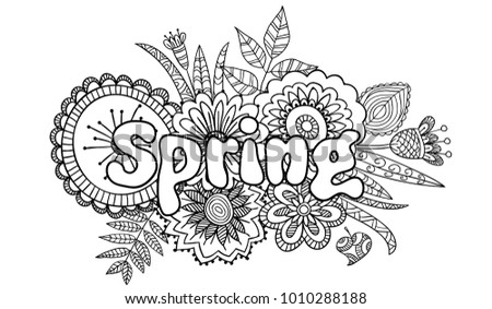 coloring page in doodle style
