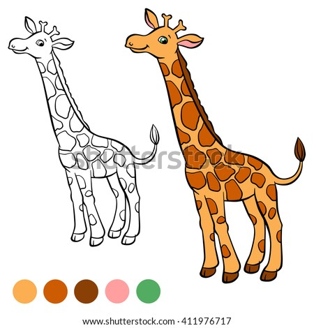 Coloring page. Little cute giraffe stands and smiles.