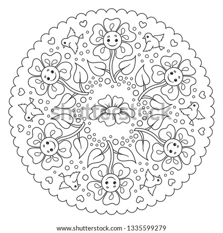 stock vector coloring page mandala for kids with flowers and birds vector illustration