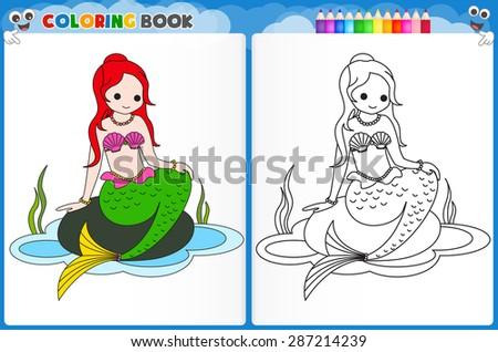 coloring page mermaid with colorful sample printable worksheet for preschool kindergarten kids to improve basic