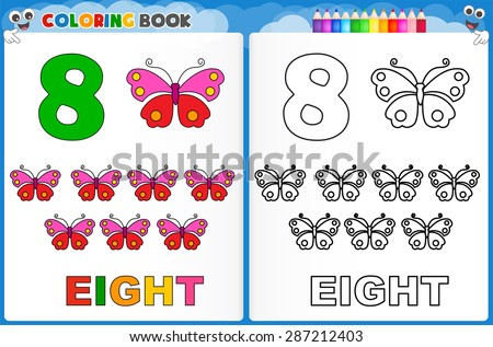 coloring page number eight with colorful sample printable worksheet for preschool kindergarten. Black Bedroom Furniture Sets. Home Design Ideas