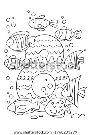 Coloring page - Numbers.  Education and fun for children's. Baby first numbers - colorize and count. Printable worksheet - 8 eight with fish  Photo stock ©