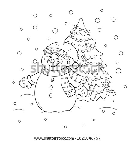 Coloring page of a cute cartoon snowman with Christmas tree. Vector black and white illustration on white background.