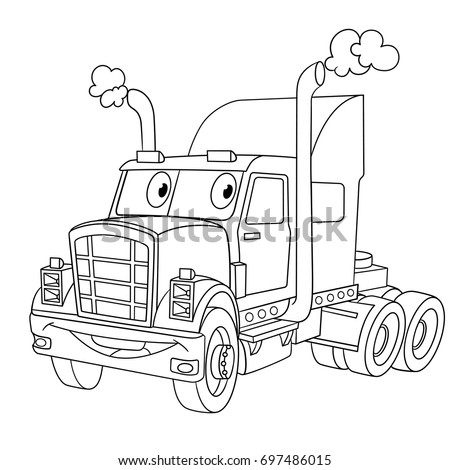 Coloring page of cartoon heavy semi truck (trailer, lorry). Coloring book design for kids and children.