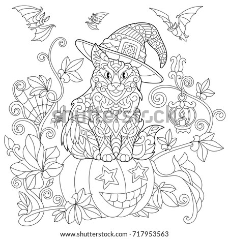 coloring page of cat in a hat