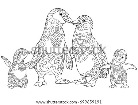 Coloring Page Of Emperor Penguins Family Isolated On White Background Freehand Sketch Drawing For