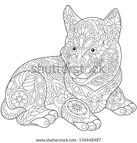 Coloring page of husky puppy, dog symbol of 2018 Chinese New Year. Freehand sketch drawing for adult antistress colouring book with doodle and zentangle elements.