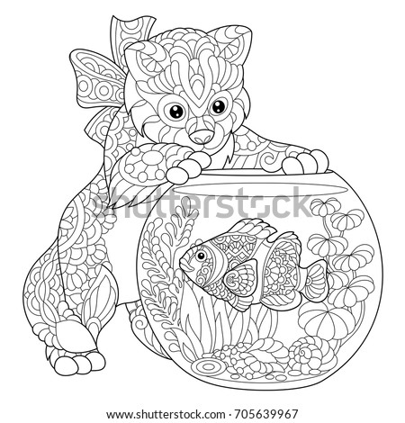 coloring page of kitten playing