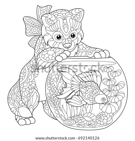 coloring page of kitten