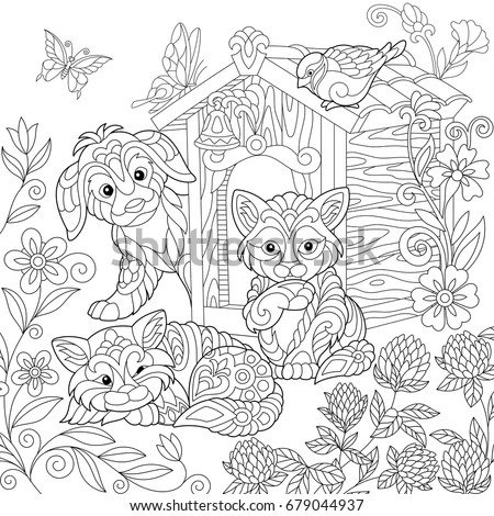Coloring page of puppy, cat, sparrow bird, dog booth, clover flowers and butterflies. Freehand drawing for adult antistress colouring book with doodle and zentangle elements.