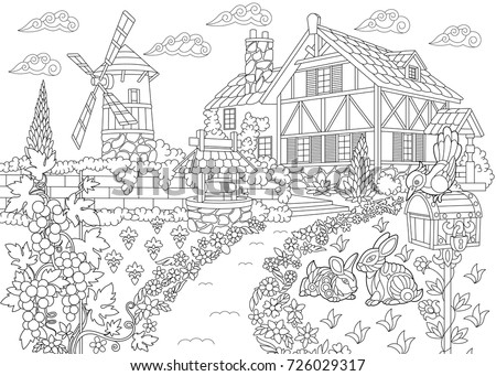 coloring page of rural