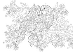 Coloring page of two parrots in love and floral background with flowers. Freehand sketch drawing for Valentine's Day vintage greeting card or adult antistress coloring book.