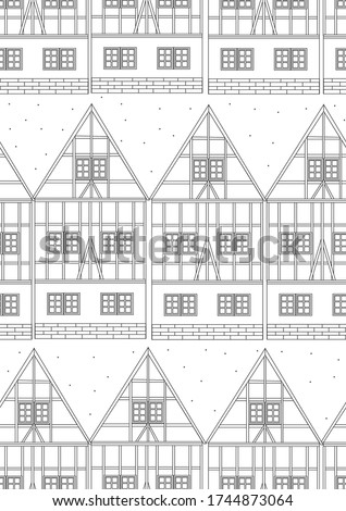 Coloring page or seamless pattern with houses in German traditional style for anti stress therapy or relaxation for adults. Outline stock vector illustration with architecture or facades   Сток-фото ©