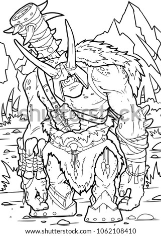 coloring page orc  eps10 vector