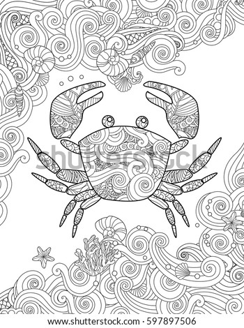 Coloring page. Ornate crab and sea waves. Vertical composition. Coloring book for adult and children. Vector illustration.