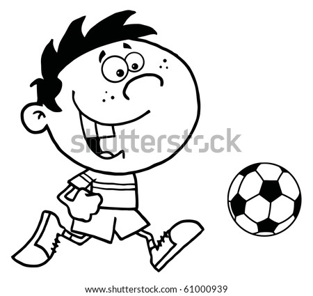 Coloring Page Outline Of A Cartoon Soccer Player Boy Running After A Ball - stock vector