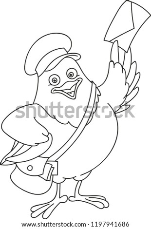 Coloring page outline of cartoon bird with bag and letter. Vector illustration, school coloring book for kids.