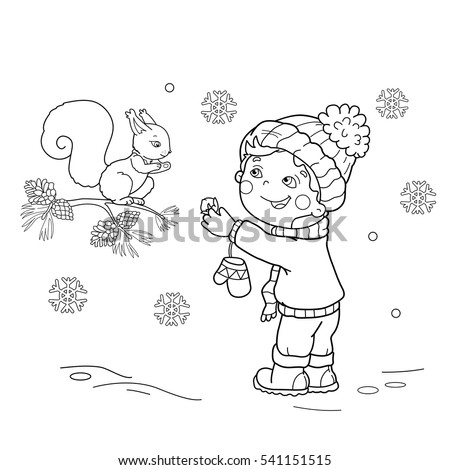 Coloring Page Outline Of Cartoon Boy Feeding A Squirrel Winter Book For Kids