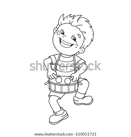 Coloring Page Outline Of Cartoon Boy Playing The Drum Musical Instruments