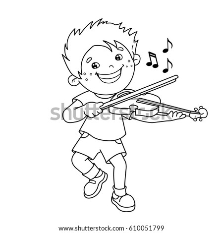 Coloring Page Outline Of Cartoon Boy Playing The Accordion Musical Instruments Book For Kids
