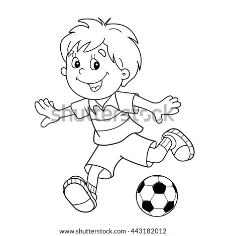 Coloring Page Outline Of Cartoon Boy With A Soccer Ball Football Book For
