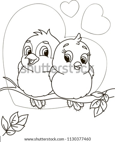 Coloring page outline of cartoon cute birds. Vector illustration, valentine's day coloring book for kids.