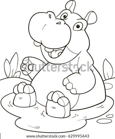 Coloring page outline of cartoon cute hippo in a puddle. Vector illustration, coloring book for kids.