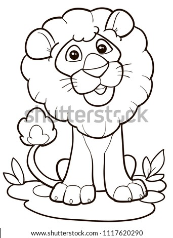 Coloring page outline of cartoon cute lion . Vector illustration, summer coloring book for kids.