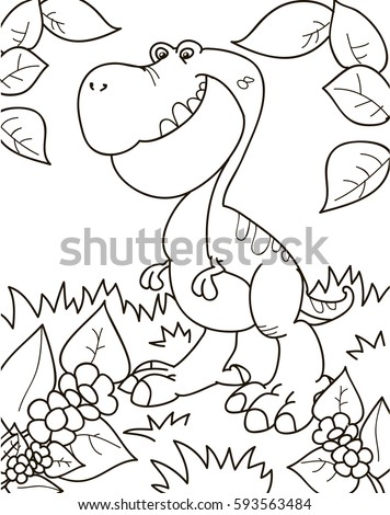 Coloring page outline of cartoon dinosaur, tyrannosaur. Vector illustration, coloring book for kids.