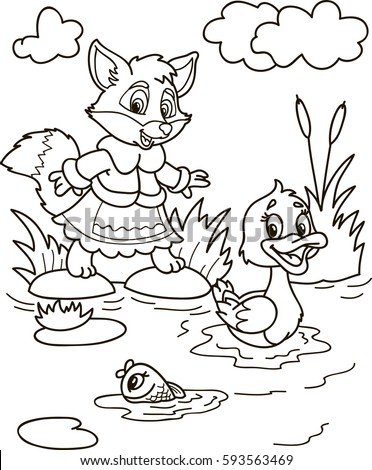Coloring page outline of cartoon fox, fish and duck on the river. Vector illustration, coloring book for kids.